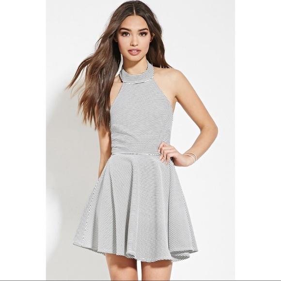 3016b892ee Forever 21 Dresses & Skirts - Forever 21 Black & white striped halter dress